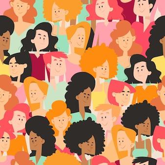 Drukke ruimte met individuele vrouwengezichten