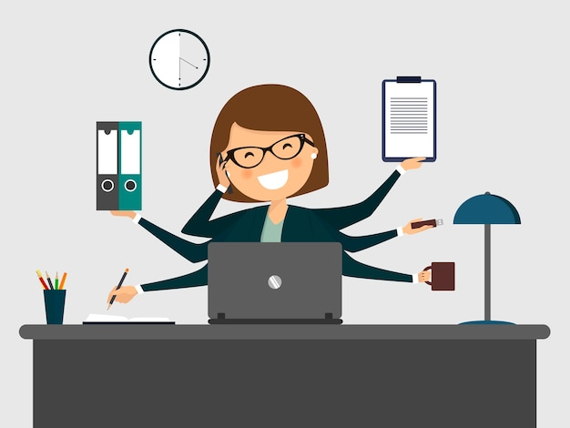 Drukke secretaresse lachend met laptop.