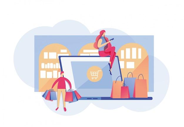 Drukke stedelijke mensen gaan ð¡onvenient online winkelen
