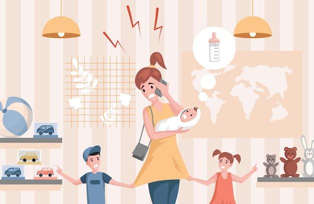 Drukke vrouw die aan de telefoon spreekt en zorgt voor pasgeboren baby, zoon en dochter