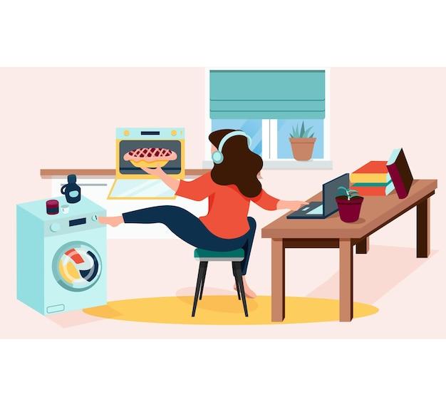 Drukke vrouw die thuis werkt, kookt en huishoudelijke taken doet thuistaken