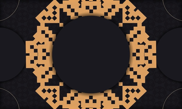 Drukklaar ansichtkaartdesign met luxe ornamenten. zwarte achtergrond met slavische vintage ornamenten en plaats voor uw tekst en logo.