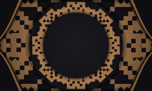Drukklaar ansichtkaartontwerp met luxe patronen. zwarte banner met sloveense ornamenten en een plek voor uw tekst.