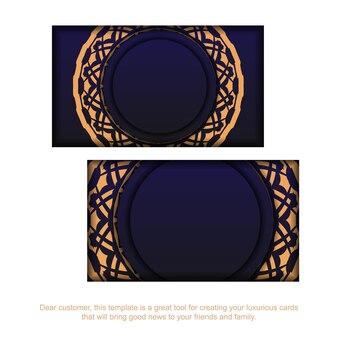 Drukklaar blauw visitekaartjeontwerp met luxe patronen. sjabloon voor vector visitekaartjes met plaats voor uw tekst en vintage ornament.