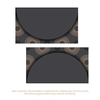 Drukklaar grijs visitekaartjeontwerp met griekse patronen. sjabloon voor visitekaartjes met plaats voor uw tekst en vintage ornamenten.