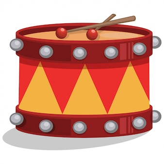 Drum met sticks cartoon geïsoleerd