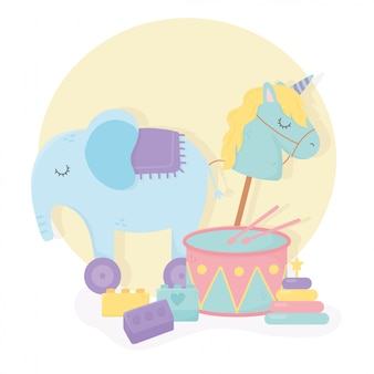 Drum olifant met wielen paard stok blokken cartoon kinderen speelgoed