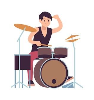 Drummer. jonge man spelen op drums, vector cartoon rock en pop drummende muzikant en instrument