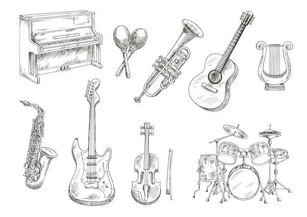 Drumstel en piano, saxofoon, akoestische en elektrische gitaren, viool en trompet, oude griekse lier en houten maracas gravure schetsen