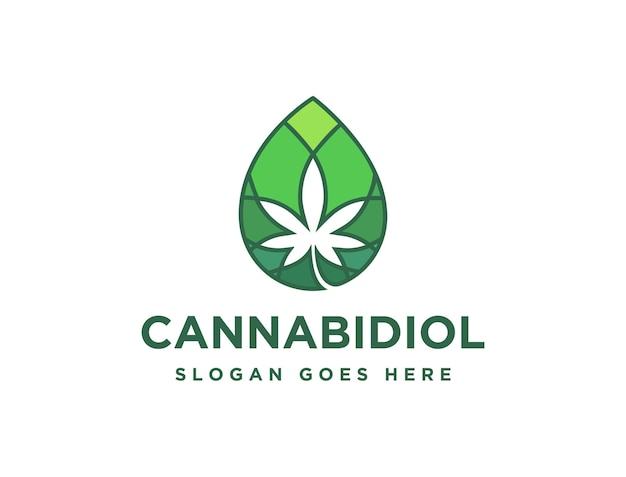 Druppel cannabidiol cannabis hennep marihuana cbd olie logo