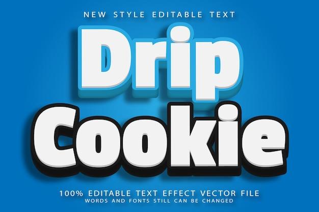 Druppel cookie bewerkbaar teksteffect reliëf moderne stijl