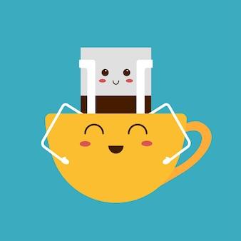 Druppel koffiezak en schattige kop. trendy drankje met gezicht, karakters in kawaii-stijl