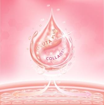 Druppel serum glutathion en roze collageen dringen door in de huid