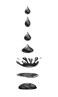 Druppel vloeibaar water valt en maakt een plons zwarte kleur fasen frames voor animatie