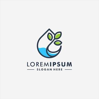 Druppel water en blad abstracte boom logo vector pictogram logotype