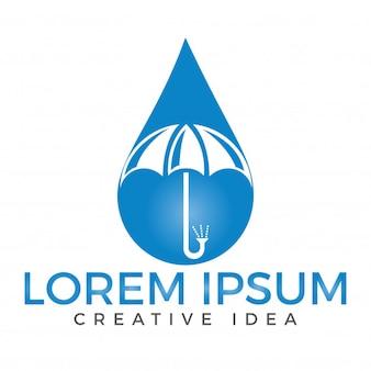 Druppel water en paraplu-logo