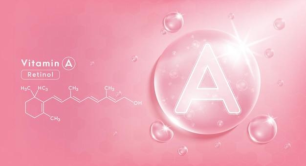 Druppel water vitamine a roze en structuur vitaminecomplex met chemische formule uit de natuur