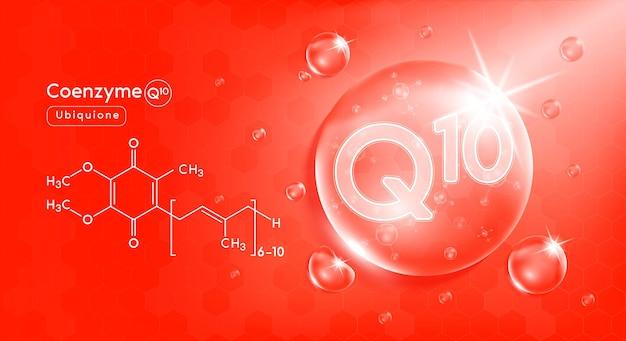 Druppel water vitamine q1 rood en structuur vitaminecomplex met chemische formule uit de natuur