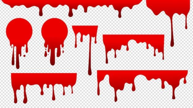 Druppelend bloed. rode vlekverf. Premium Vector