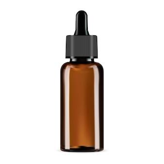 Druppelfles bruin glas cosmetische pipet mockup amber glas serum essentiële olie