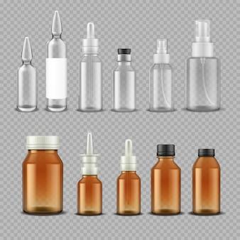 Druppelfles van glas. realistische medische containers voor pillen capsules oogdruppels aromatische olie. vector geïsoleerde plastic en glazen flessen met schroefdeksels op transparante achtergrond