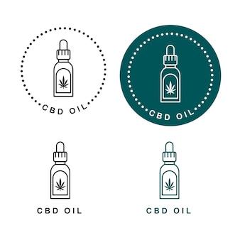 Druppelfles vector groene lijn kunst symbolen op witte achtergrond voor commerciële zakelijke medische cannabis gezondheidsdiensten website