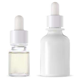 Druppelflesje set van witte glazen serumflessen
