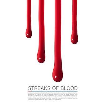 Druppels bloed stromen naar beneden. vectorillustratie