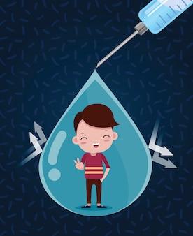 Druppels vaccin tegen ziektekiemen. jongen blij
