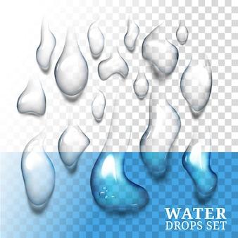 Druppels water met eigen schaduw
