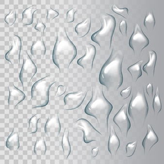Druppels water op transparante achtergrond