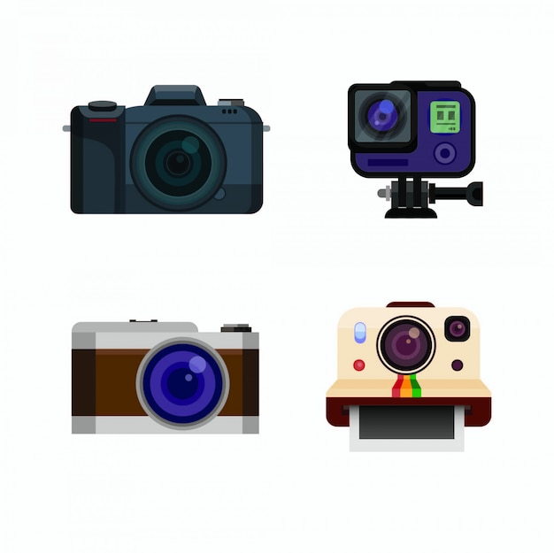 Dslr action cam mirrorless collectie icon set