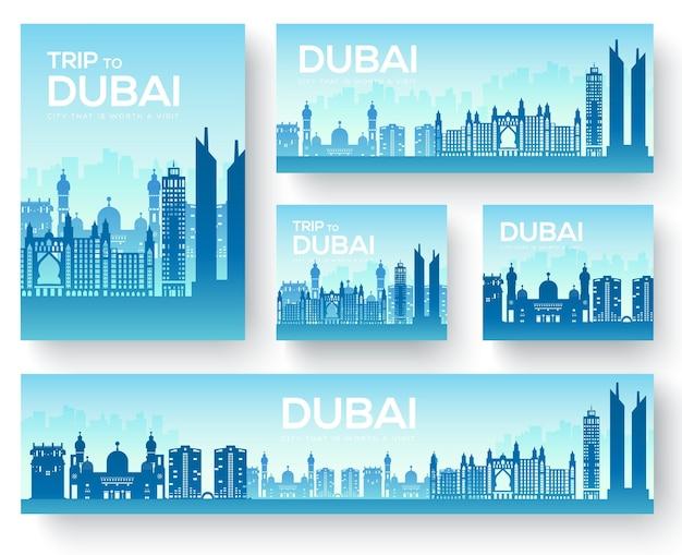 Dubai brochure kaarten set. landsjabloon van flyear, tijdschriften, posters, boekomslag, banners