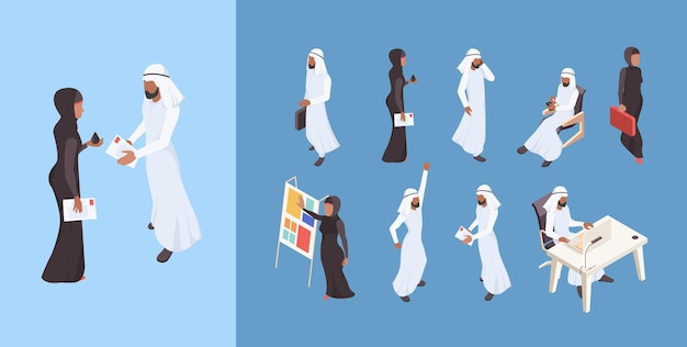 Dubai man saudi vrouw zakenmensen arabisch ondernemer karakters illustraties