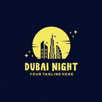 Dubai nacht met vintage stijl logo