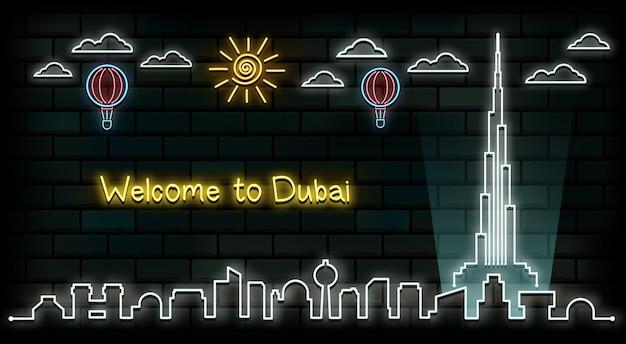 Dubai reizen en reis neonlicht achtergrond.