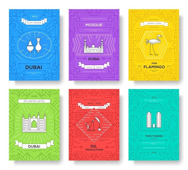 Dubai vector brochure kaarten dunne lijn set