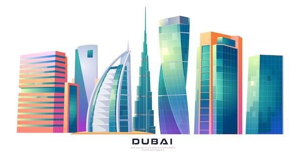 Dubai, verenigde arabische emiraten skyline met wereldberoemde gebouwen