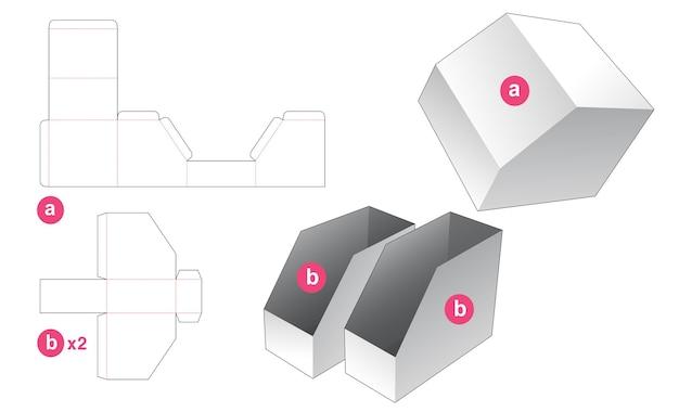 Dubbel afgeschuinde briefpapier doos met gestanste sjabloon met deksel