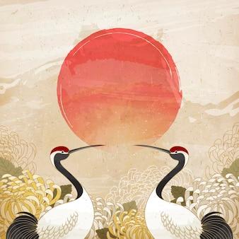 Dubbel negende festivalontwerp met symmetrische rode gekroonde kraan en chrysantenachtergrond