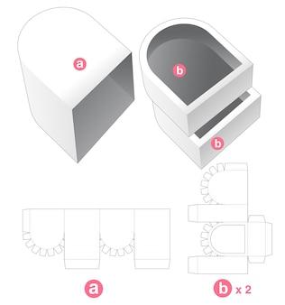 Dubbel rond dienblad met omslag gestanst sjabloon Premium Vector