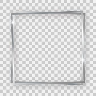 Dubbel zilver glanzend vierkant frame met gloeiende effecten en schaduwen op transparante achtergrond. vector illustratie