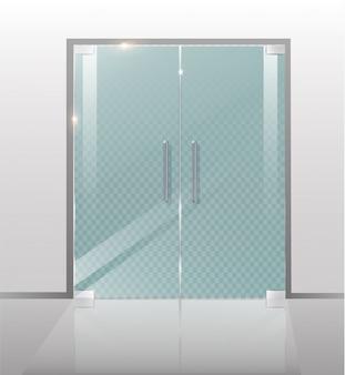 Dubbele glazen deuren naar het winkelcentrum of kantoor.