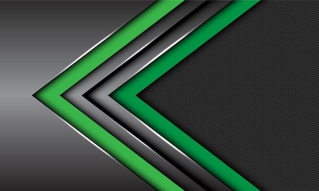 Dubbele groene donkergrijze metalen pijl richting cirkel mesh futuristische achtergrond.