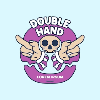 Dubbele hand met schedel illustratie hand drawn