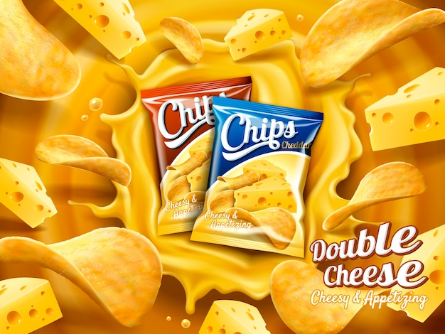 Dubbele kaas aardappelchips advertentie illustratie