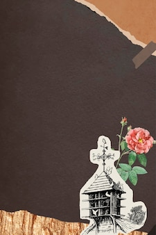 Dubbele mosroos en een vogelhuisje met gescheurde bruine papieren achtergrond
