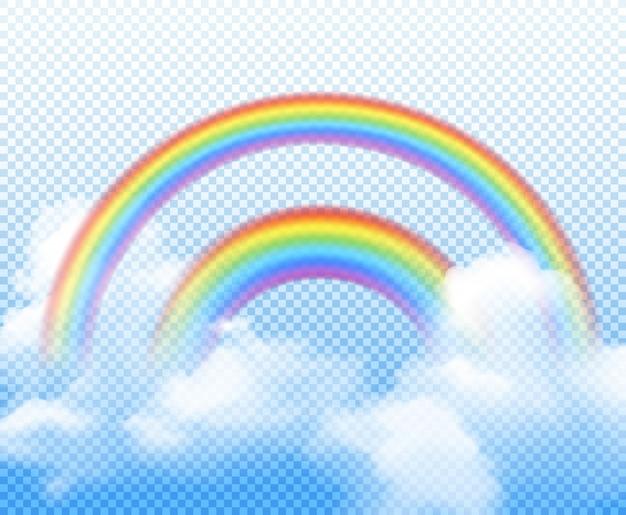 Dubbele regenboog uit verschillende halve cirkels met witte wolken realistische compositie op transparant