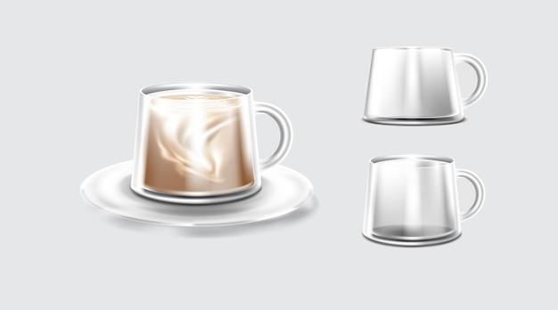 Dubbelwandige geïsoleerde glazen thermische koffieglazen mok met handvat