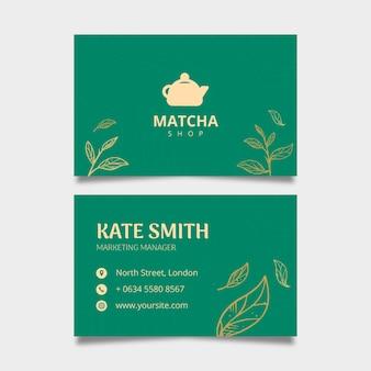 Dubbelzijdig horizontaal visitekaartjesjabloon voor matcha-thee
